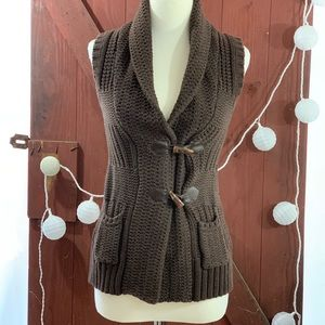 Jackets & Coats - Brown sweater vest cardigan size medium